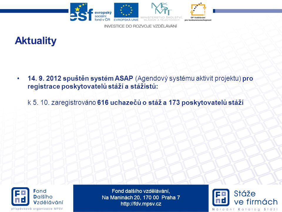 Aktuality 14. 9. 2012 spuštěn systém ASAP (Agendový systému aktivit projektu) pro registrace poskytovatelů stáží a stážistů: