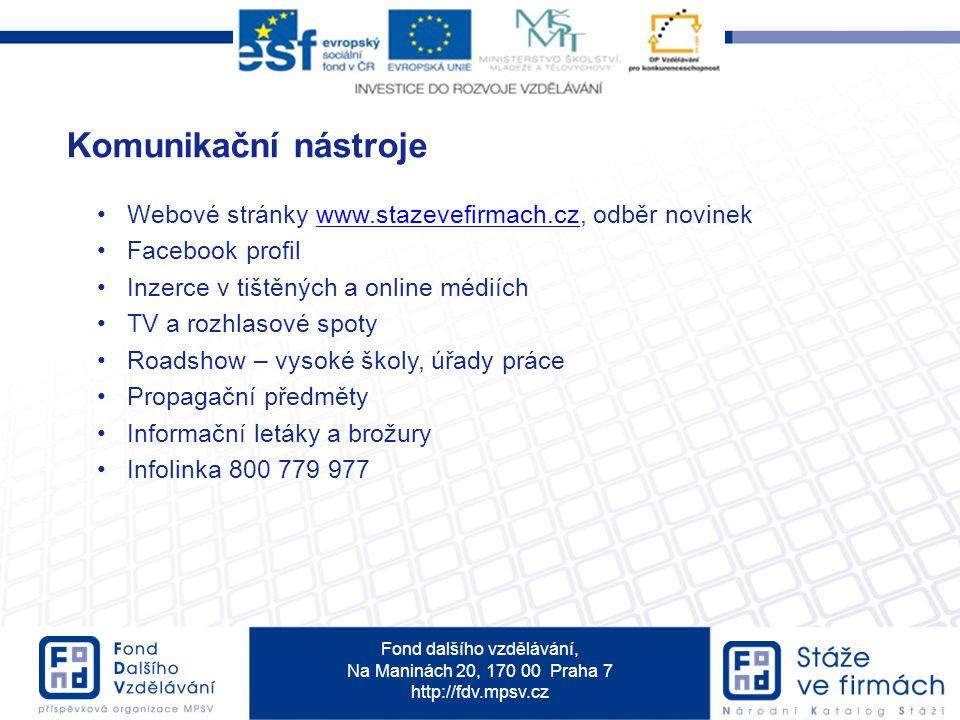 Komunikační nástroje Webové stránky www.stazevefirmach.cz, odběr novinek. Facebook profil. Inzerce v tištěných a online médiích.
