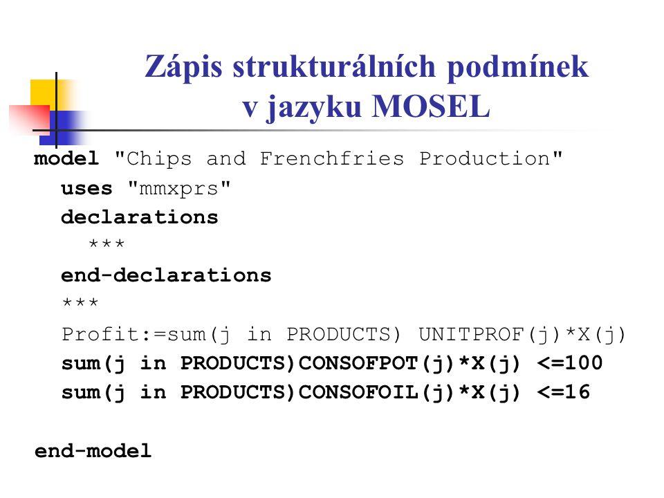 Zápis strukturálních podmínek v jazyku MOSEL