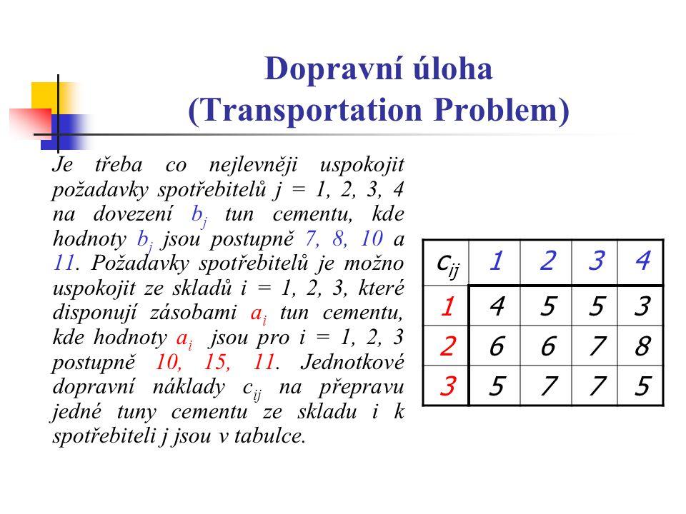 Dopravní úloha (Transportation Problem)