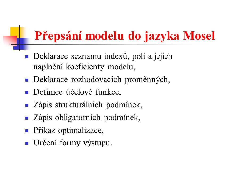 Přepsání modelu do jazyka Mosel