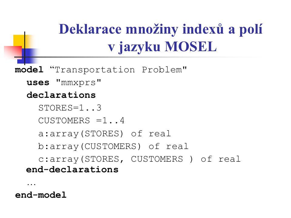 Deklarace množiny indexů a polí v jazyku MOSEL