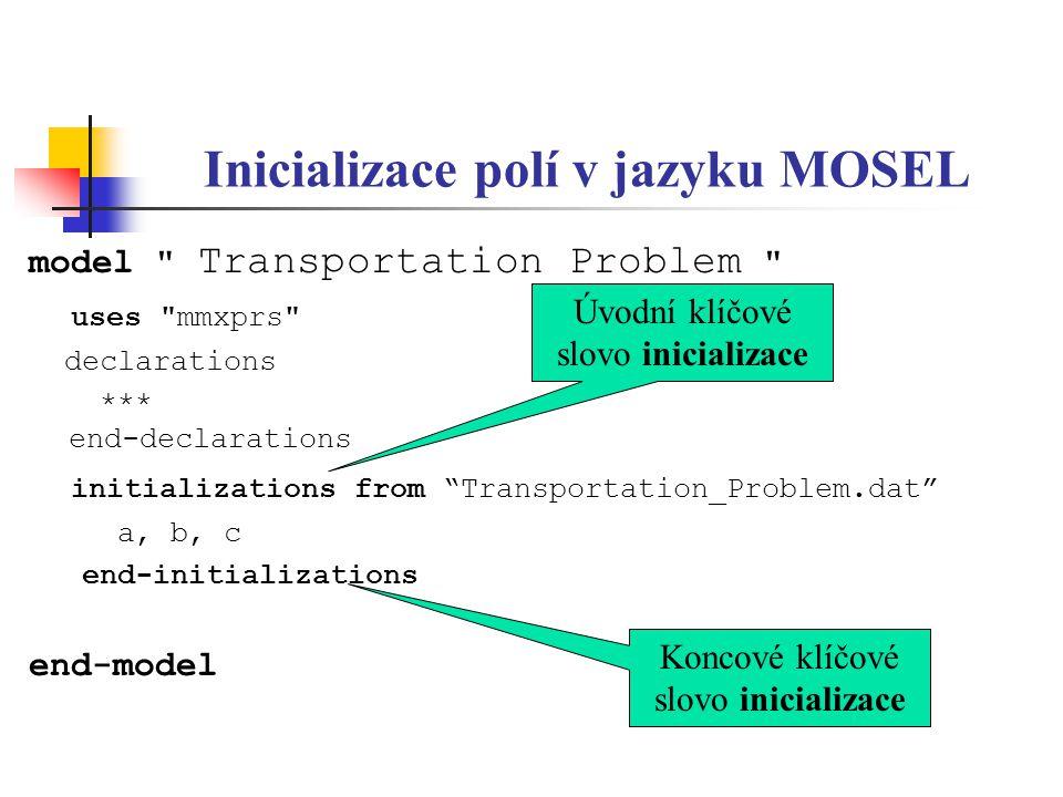 Inicializace polí v jazyku MOSEL