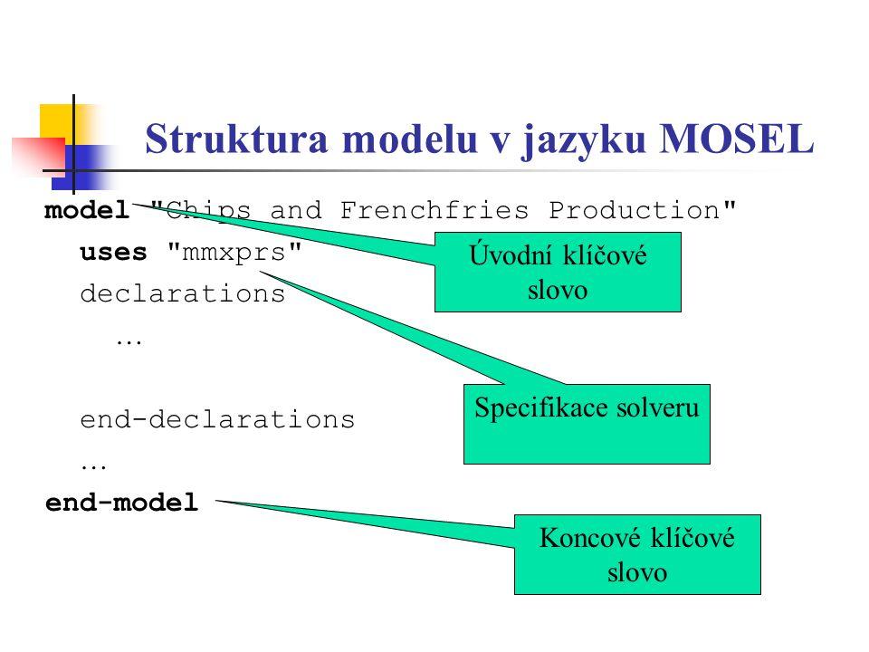 Struktura modelu v jazyku MOSEL