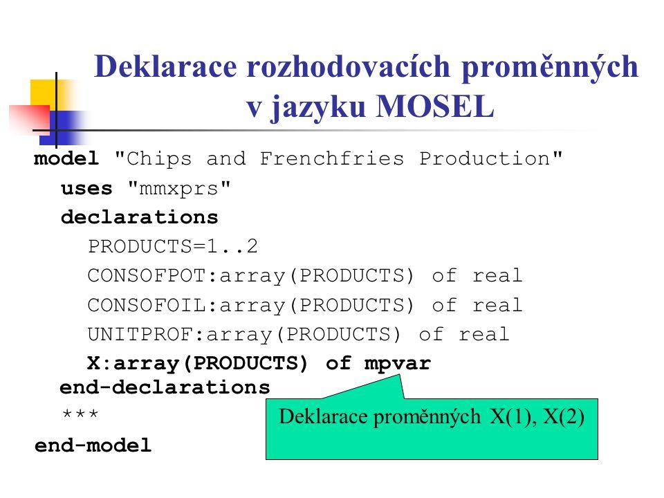 Deklarace rozhodovacích proměnných v jazyku MOSEL