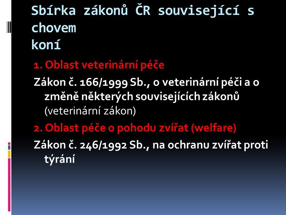 Sbírka zákonů ČR související s chovem koní