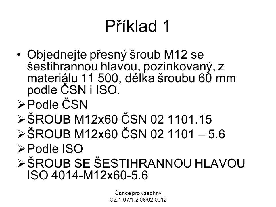 Příklad 1 Objednejte přesný šroub M12 se šestihrannou hlavou, pozinkovaný, z materiálu 11 500, délka šroubu 60 mm podle ČSN i ISO.