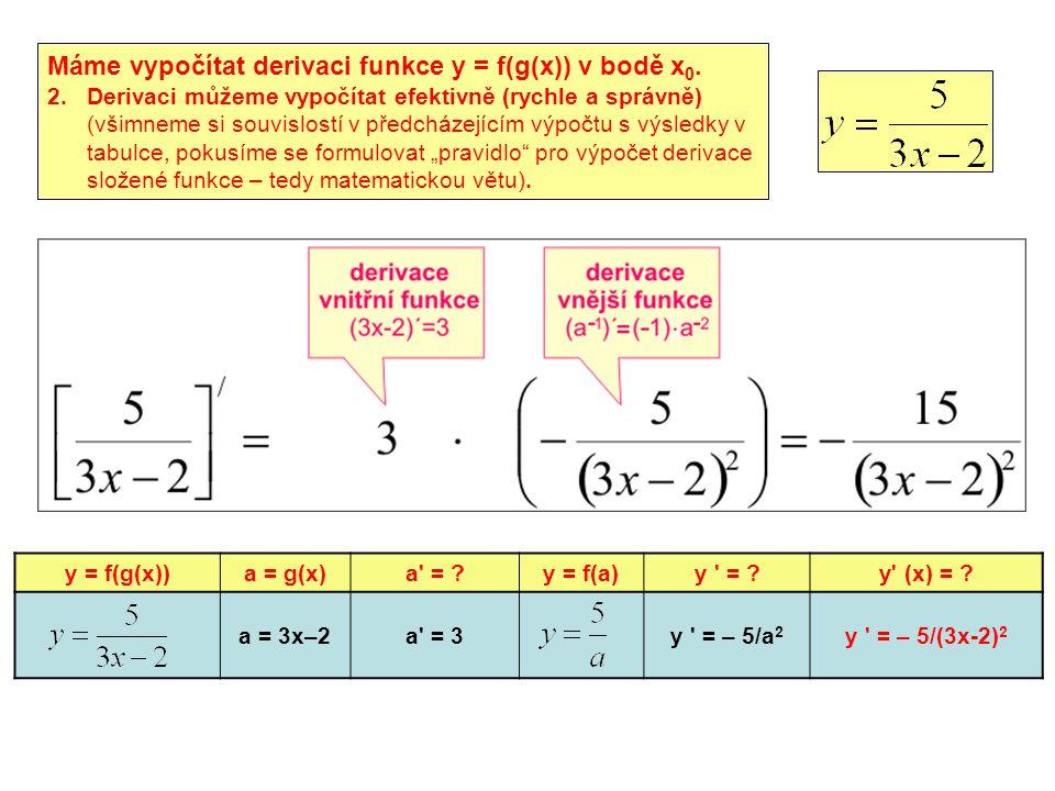 Máme vypočítat derivaci funkce y = f(g(x)) v bodě x0.