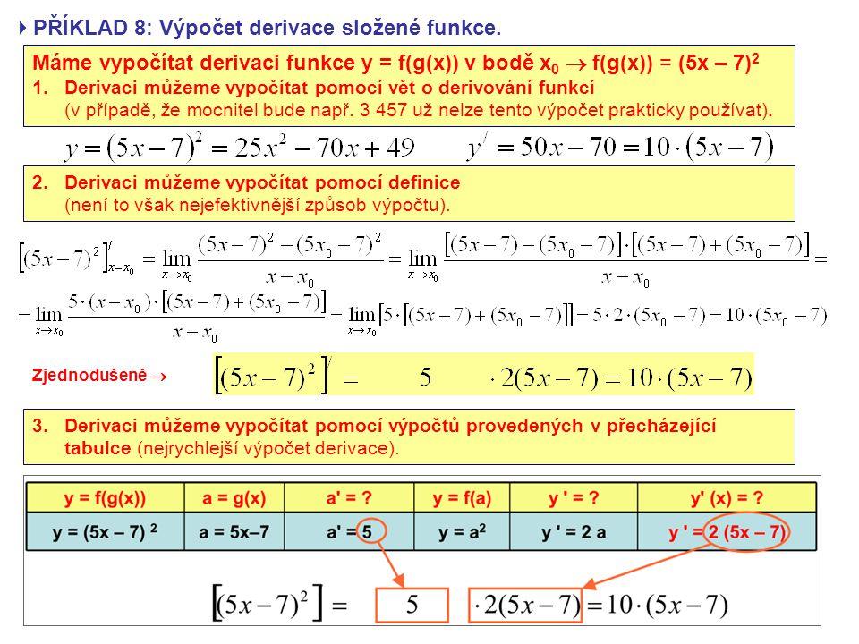 PŘÍKLAD 8: Výpočet derivace složené funkce.