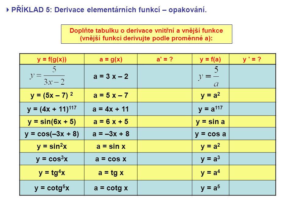 PŘÍKLAD 5: Derivace elementárních funkcí – opakování.