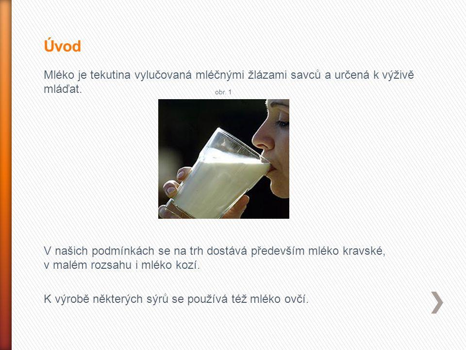 Úvod Mléko je tekutina vylučovaná mléčnými žlázami savců a určená k výživě mláďat. obr. 1.