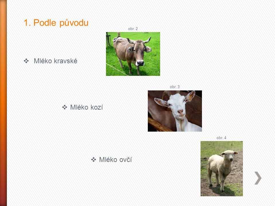 1. Podle původu Mléko kravské Mléko kozí Mléko ovčí obr. 2 obr. 3