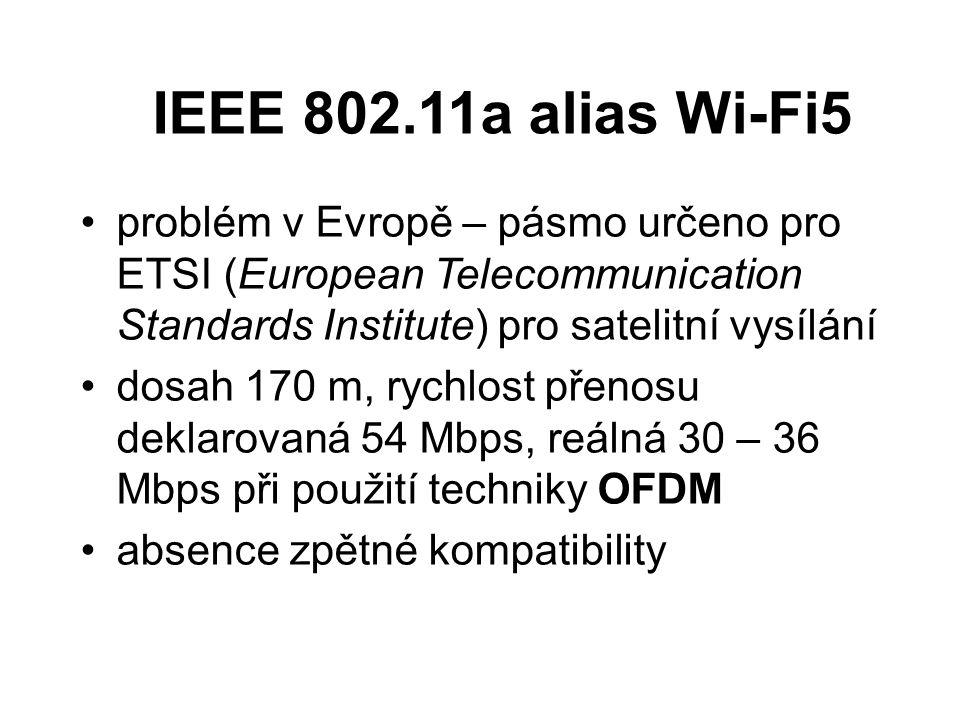 IEEE 802.11a alias Wi-Fi5 problém v Evropě – pásmo určeno pro ETSI (European Telecommunication Standards Institute) pro satelitní vysílání.