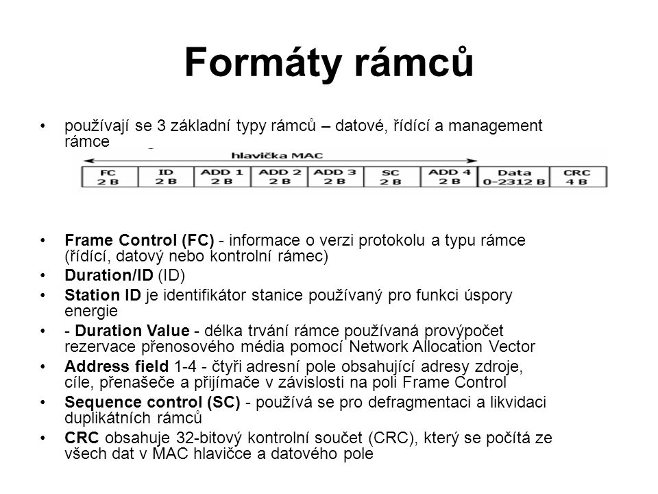Formáty rámců používají se 3 základní typy rámců – datové, řídící a management rámce.