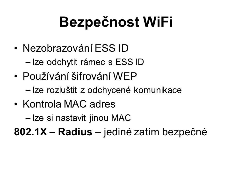Bezpečnost WiFi Nezobrazování ESS ID Používání šifrování WEP