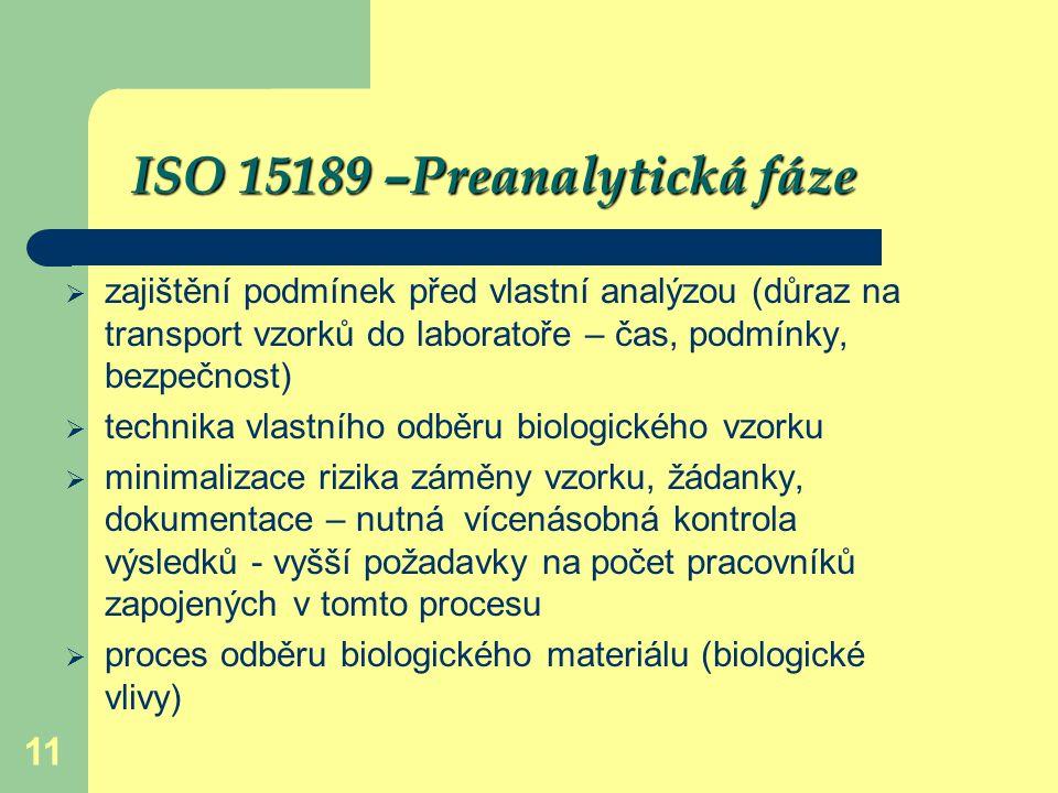ISO 15189 –Preanalytická fáze