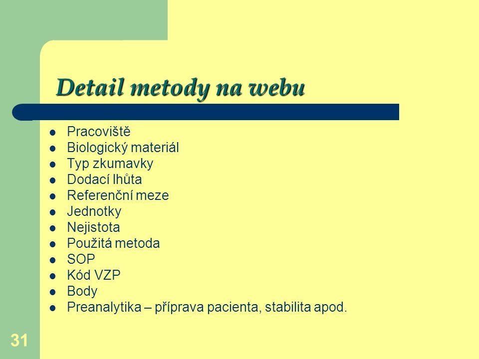 Detail metody na webu Pracoviště Biologický materiál Typ zkumavky