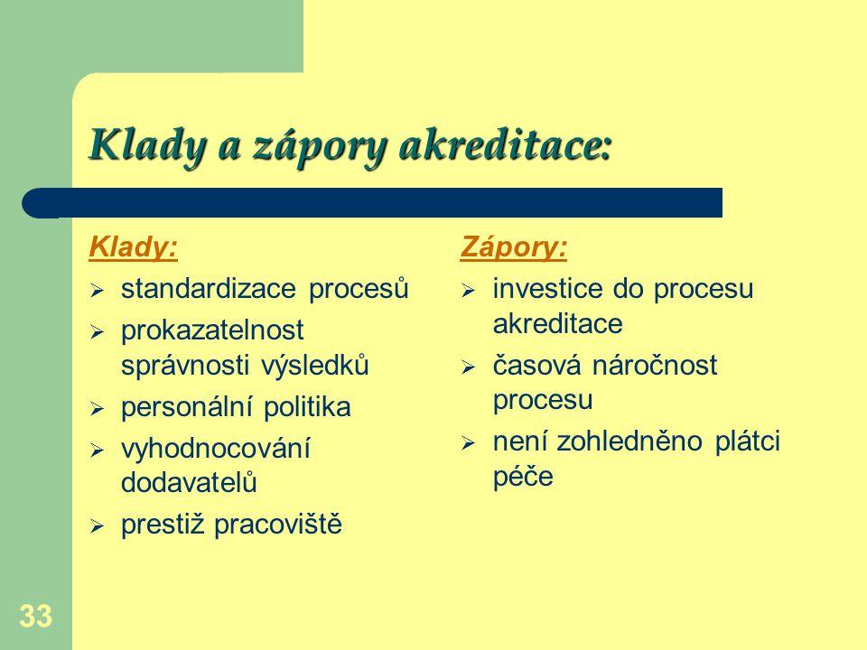 Klady a zápory akreditace: