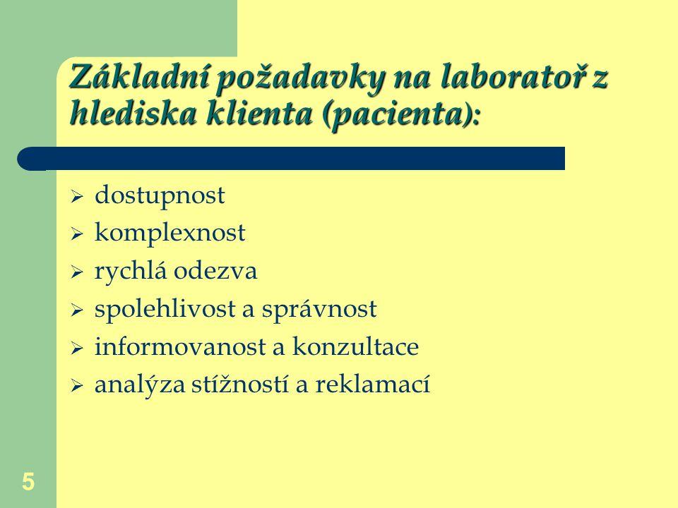 Základní požadavky na laboratoř z hlediska klienta (pacienta):