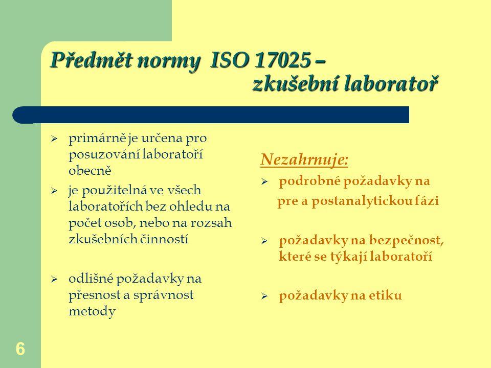 Předmět normy ISO 17025 – zkušební laboratoř