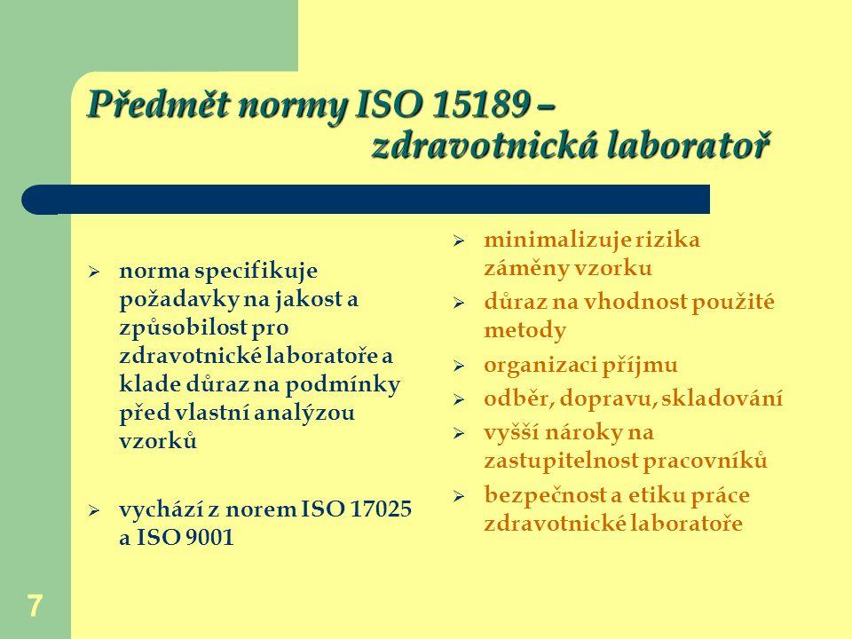 Předmět normy ISO 15189 – zdravotnická laboratoř