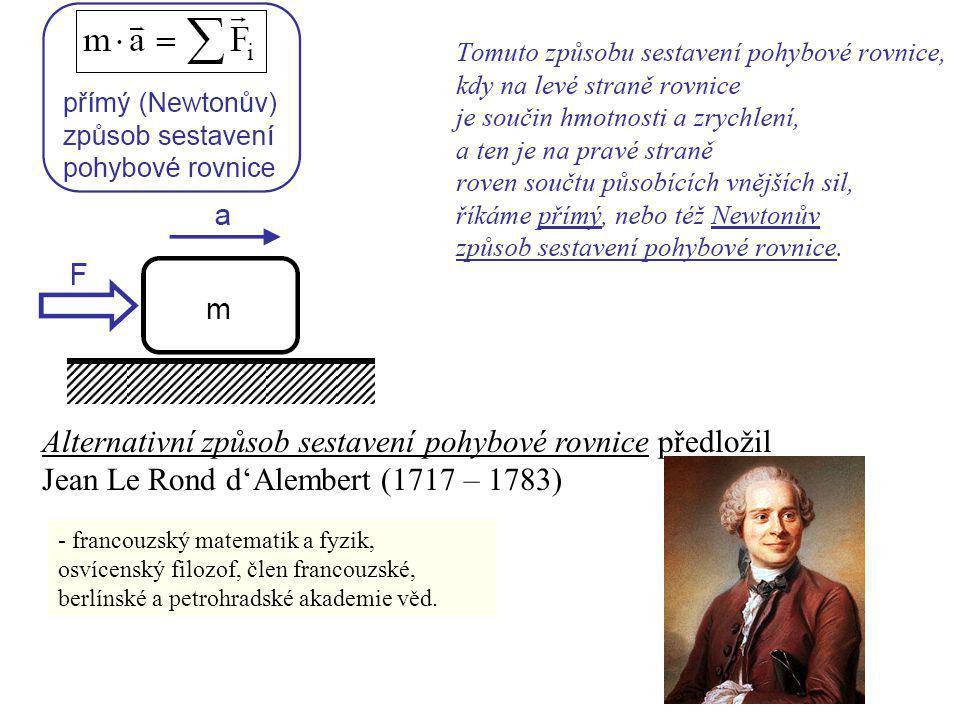 Alternativní způsob sestavení pohybové rovnice předložil Jean Le Rond d'Alembert (1717 – 1783)