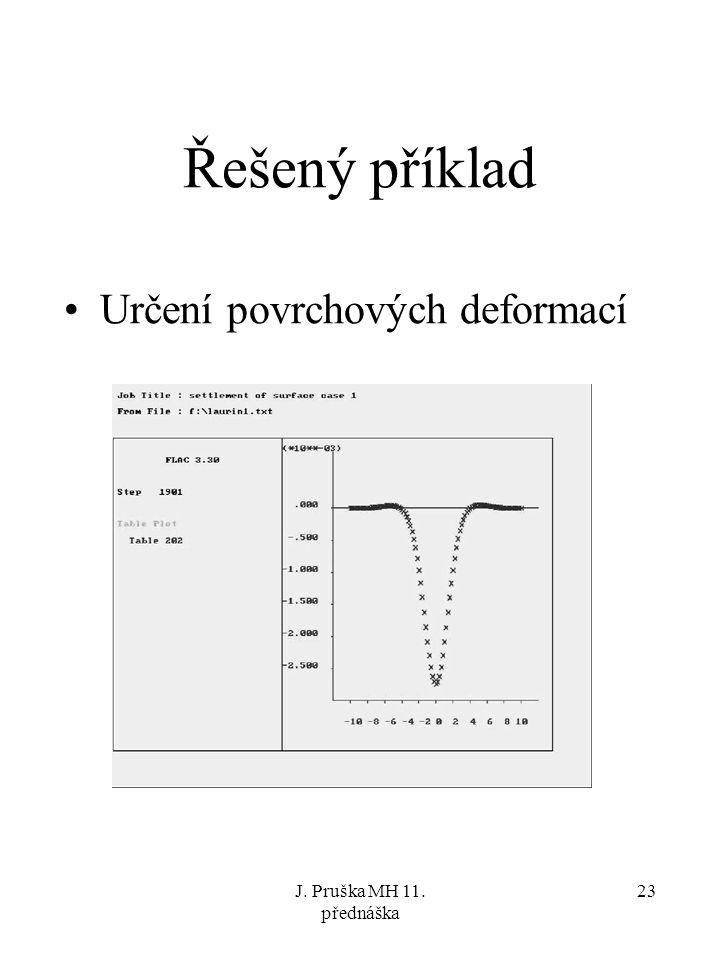Řešený příklad Určení povrchových deformací J. Pruška MH 11. přednáška