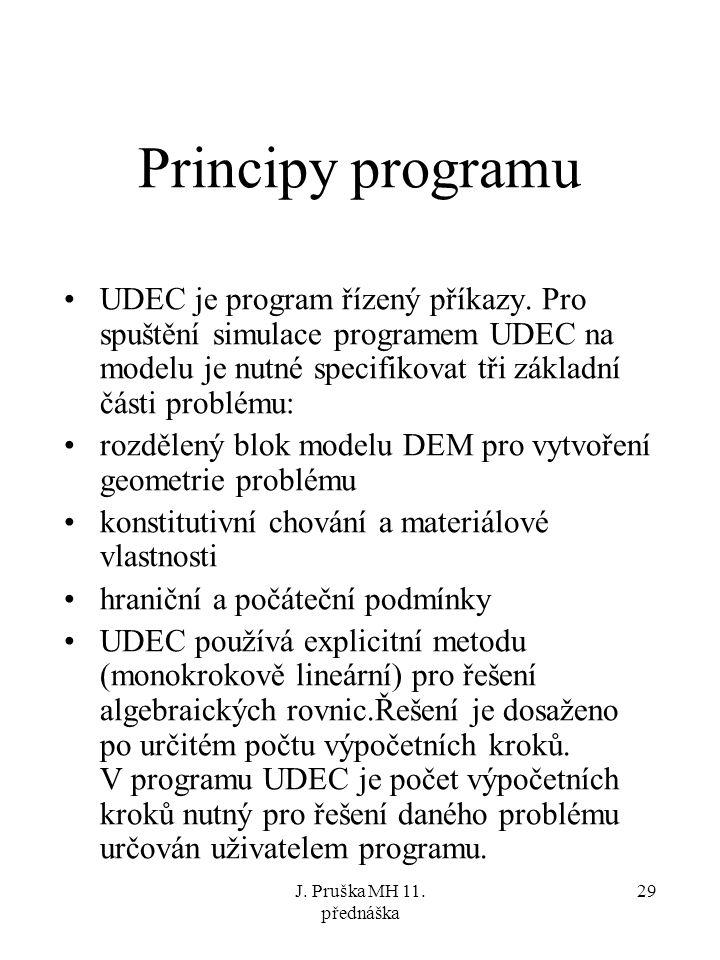 Principy programu UDEC je program řízený příkazy. Pro spuštění simulace programem UDEC na modelu je nutné specifikovat tři základní části problému: