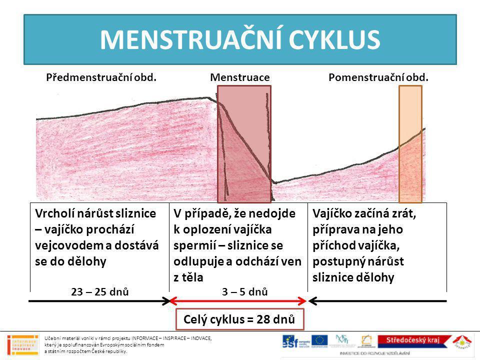 MENSTRUAČNÍ CYKLUS Předmenstruační obd. Menstruace. Pomenstruační obd.