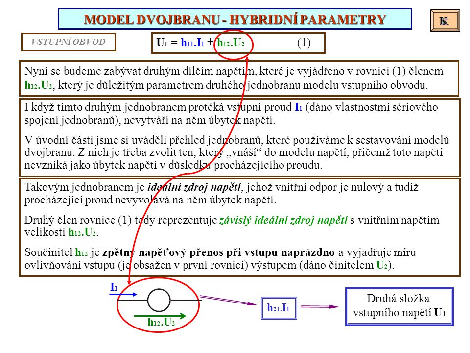 MODEL DVOJBRANU - HYBRIDNÍ PARAMETRY