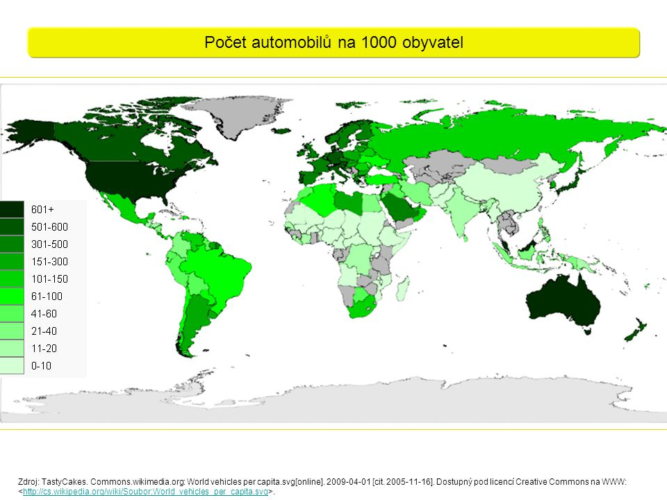 Počet automobilů na 1000 obyvatel