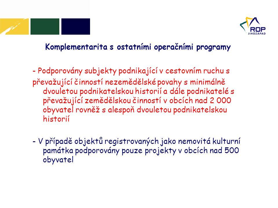 Komplementarita s ostatními operačními programy