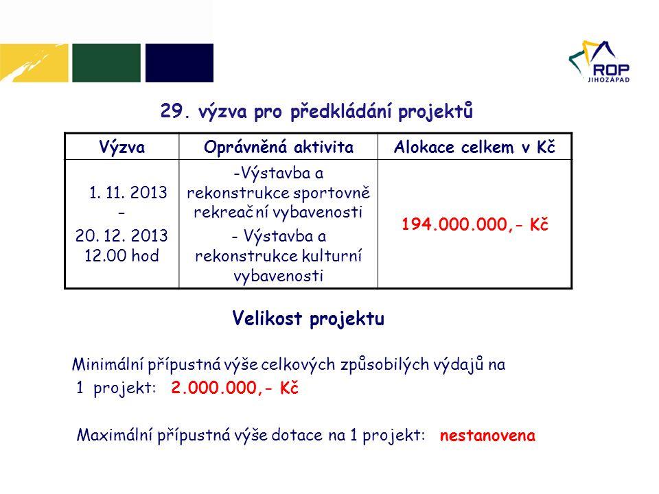 29. výzva pro předkládání projektů