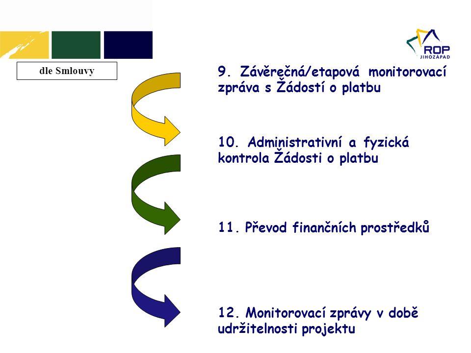 9. Závěrečná/etapová monitorovací zpráva s Žádostí o platbu