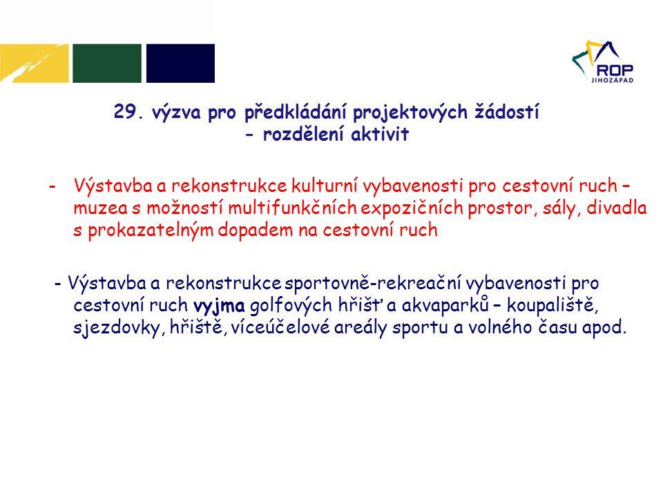 29. výzva pro předkládání projektových žádostí - rozdělení aktivit