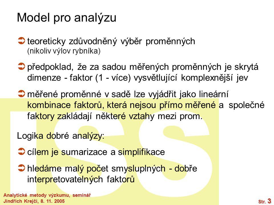 Model pro analýzu teoreticky zdůvodněný výběr proměnných (nikoliv výlov rybníka)