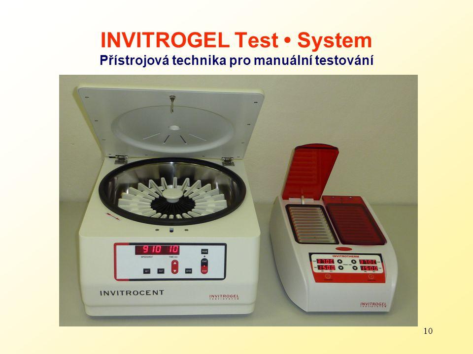 INVITROGEL Test • System Přístrojová technika pro manuální testování