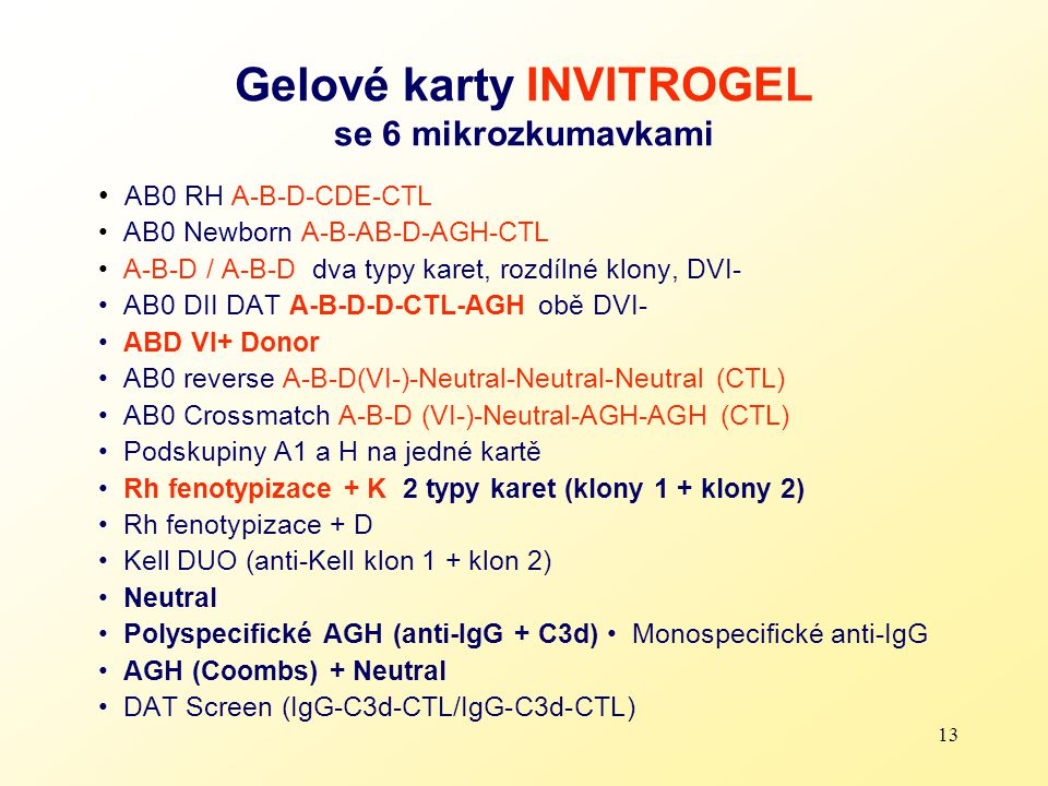 Gelové karty INVITROGEL se 6 mikrozkumavkami