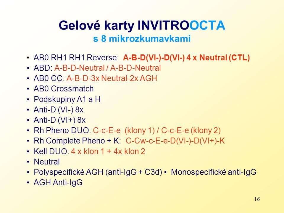 Gelové karty INVITROOCTA s 8 mikrozkumavkami