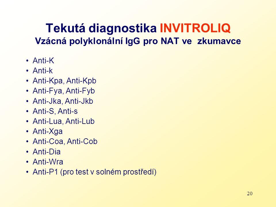 Tekutá diagnostika INVITROLIQ Vzácná polyklonální IgG pro NAT ve zkumavce