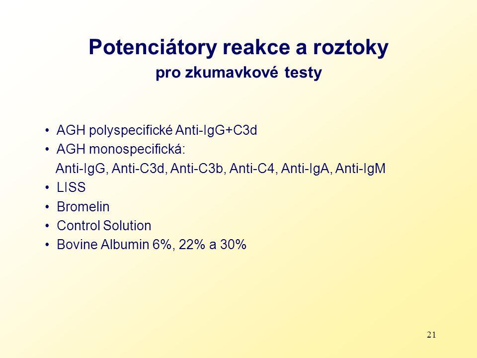 Potenciátory reakce a roztoky pro zkumavkové testy