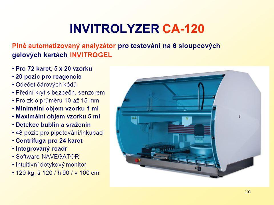 INVITROLYZER CA-120 Plně automatizovaný analyzátor pro testování na 6 sloupcových. gelových kartách INVITROGEL.