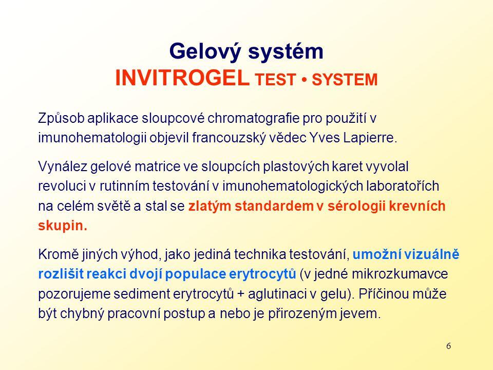 Gelový systém INVITROGEL TEST • SYSTEM