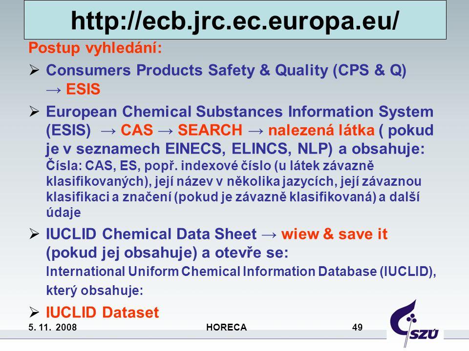 http://ecb.jrc.ec.europa.eu/ Postup vyhledání: