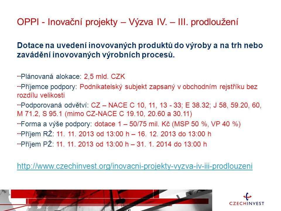 OPPI - Inovační projekty – Výzva IV. – III. prodloužení