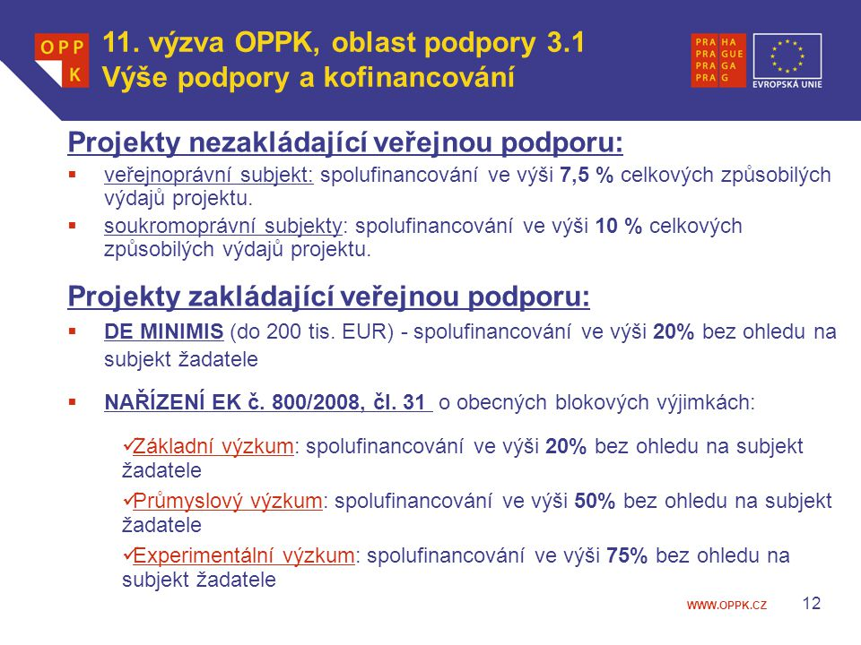 11. výzva OPPK, oblast podpory 3.1 Výše podpory a kofinancování