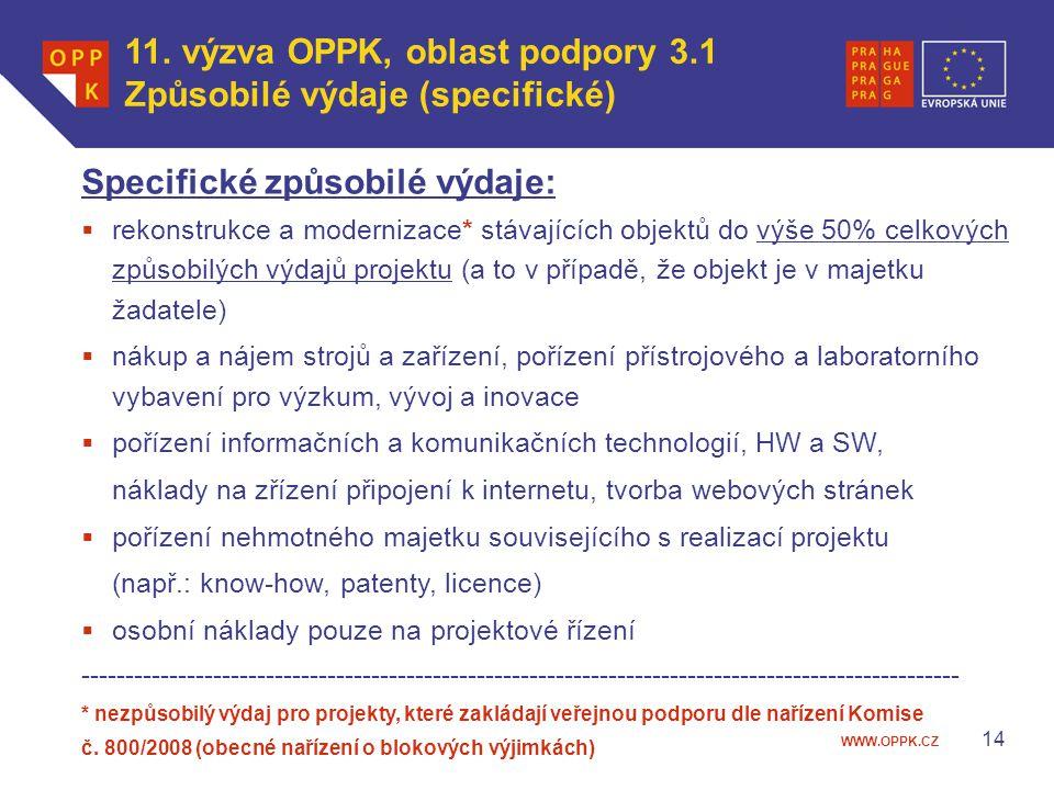 11. výzva OPPK, oblast podpory 3.1 Způsobilé výdaje (specifické)