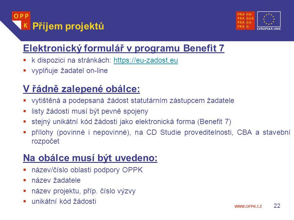 Elektronický formulář v programu Benefit 7