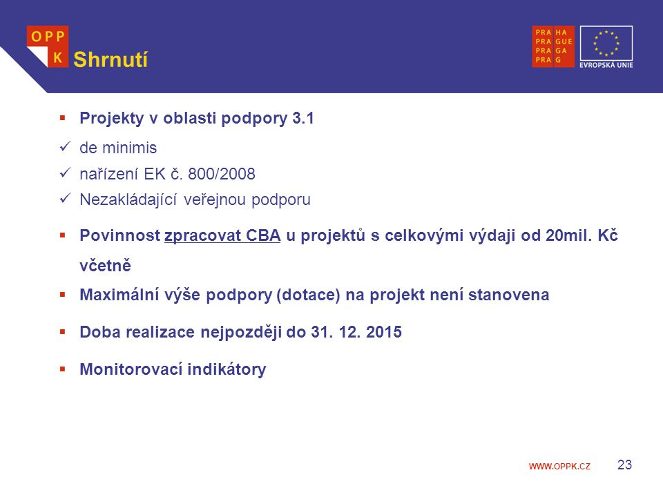 Shrnutí Projekty v oblasti podpory 3.1 de minimis