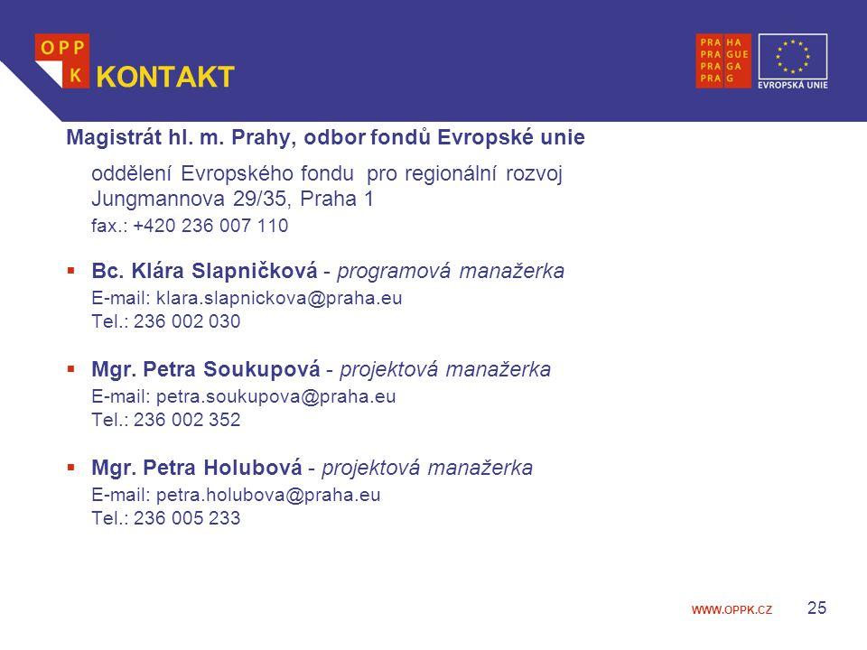 KONTAKT Magistrát hl. m. Prahy, odbor fondů Evropské unie
